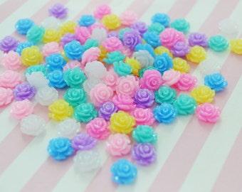 11mm Glitter Flower Flatback Decoden Cabochon - set of 20