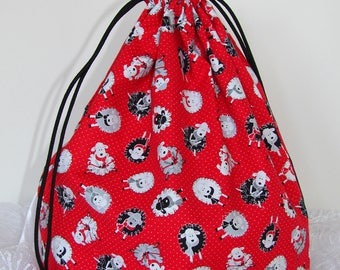 Yarn Project Bag - Assorted Sheep on Red Squared Bottom