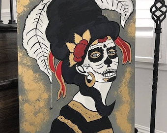 Sugar Skull Day Of The Dead Painting