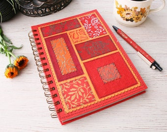 Dot Grid Notebook A5 red / dot journal / recycled dot grid notebook / recycled journal / red planner / travel journal /  unique journal