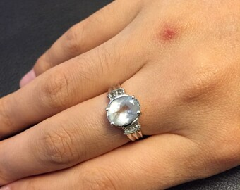 Vintage handmade sterling silver CZ ring, size 6.5, stamped 925, Mexico 925 silver, engagement ring