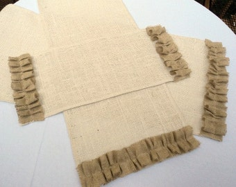 Burlap Table Runner with Ruffles Natural and Ivory