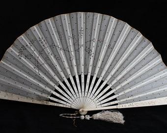 Antique Victorian cream fan with sequins, 19th century fan, wedding fan, vintage fan, cream fan, collectors fan, sequin fan
