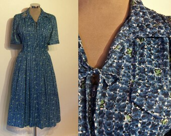 "Great late 1950s nylon print zip front day dress bust 38"" so wearable!"