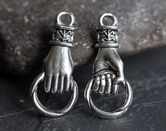 Hand Charm, Hand Holding Ring Connector, Fleur-De-Lis Pendant, Antique Silver, 11X25mm, 1 Pc, Made in the USA, AB43