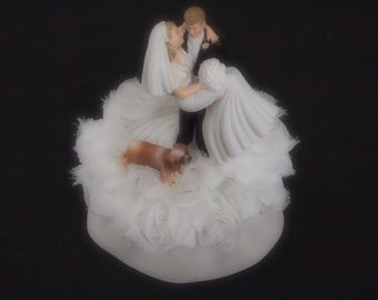 Wedding Cake Topper Bride Groom King Charles Cavalier Spaniel Dog White Brown Choose Hair Dog and Flower Colors