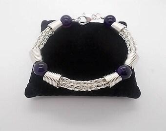 Viking Knit Bracelet - Ladies Woven bracelet - Silver Viking Bracelet - Beaded Jewellery Handmade - Silver Bracelet For Women