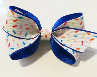 Unique and Pretty Bowtastic Style Sprinkles Blue and White Hair Bow