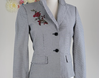 1990s Blazer - Gingham Embroidered Floral Blazer - Fitted Embellished One-of-a-kind Classic Vintage Jacket - Small/Medium - Black White