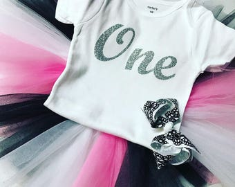 Birthday outfit tutu and matching hair clip