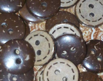 set of 10 buttons coconut round Brown 12 mm sewing scrapbooking