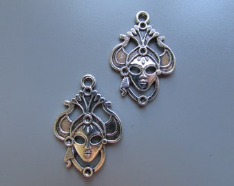 Masquerade Mardi Gras Mask Tibetan silver Jewellery Charm