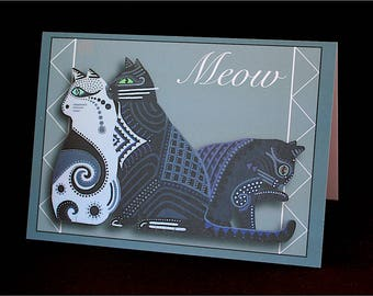 "Three Cats 4.25"" x 6"" Blank Greeting Card"