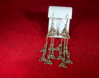 Vintage-Earrings-Triquetra-Sign-Celtic-Triad-Silver-925-Jewelry-Accessories