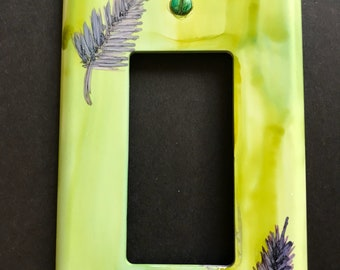 Lime Green and Dark Purple Ferny Leaves or Pine Needles- Handpainted Switch Plate