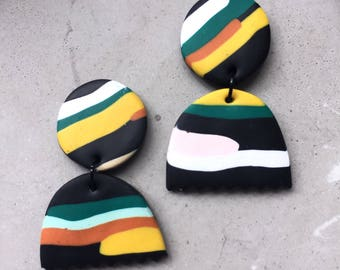 Klay By Pia ||| The Striped Black Dangle Earrings |||