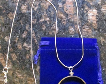 """24""""sterling silver necklace with coin bezel for Old Silver Dollars  ***Coin Not Included***, + Gift Bag"""