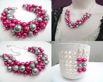 Hot Pink and Silver Gray Pearl Beaded Jewelry Set, Necklace Bracelet Earrings, Cluster Jewelry, Pink Wedding Set, Bridesmaids Gifts, Chunky