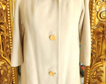 Vintage 1950's Beige Winter Wool Coat with Mink Collar from Steigers of Springfield Mass.