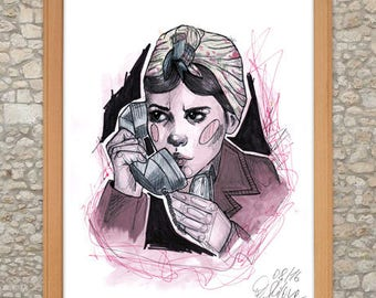 Amelie Poulain Watercolor Artprint