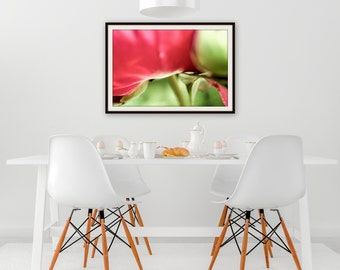 peony picture print, wall art photography, abstract green red,  8x12, 10x15, 12x18, 14x21, 16x24, 18X27, interior decoration, curve soft,