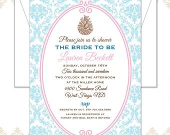 Pinecone Shower Invite, Vintage Pinecone Invitation, Damask Invitation, Traditional wedding Shower Invite, Vintage Woodland Invitation,