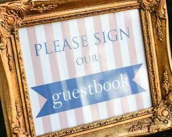 """Preppy Wedding Decor, Guestbook Sign, Kids Table Sign, Blue and Pink Stripes, Dessert Bar Sign - """"Preppy Chic"""" Guestbook Sign"""