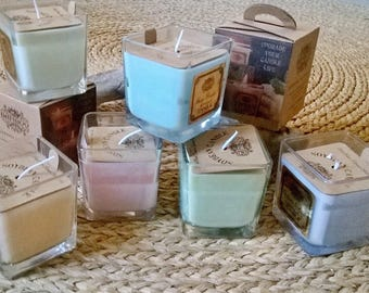 Vegetable candles wax soy oils and natural fragrances + 35 hour burn time