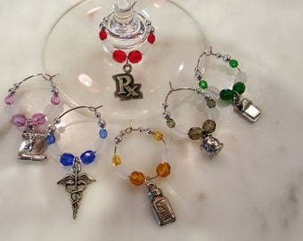 Pharmacy Pharmacist Wine Charms with Pouch V3