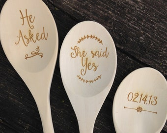 Engraved Wood Spoon Set, Personalized spoon, wooden spoon, wedding favor, shower favor, event prize,  engraved spoon, prize, I do