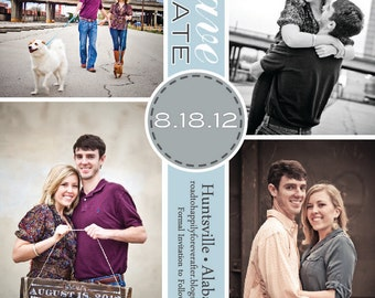 Square Save the Date • 4 Photos • Wedding Announcement • Engagement Photo Card