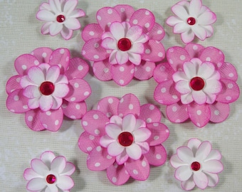 8 Scrapbook Flowers, Pink and White Flowers, Flower Card Topper, Decorating, Weddings, Banners
