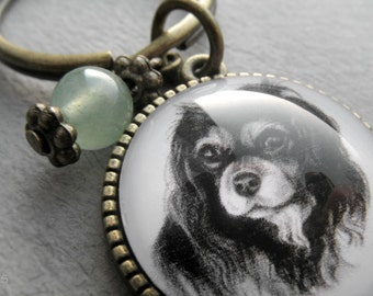 Cavalier King Charles Spaniel Key Ring, Pet Drawing, Pet Gift, Spaniel Keychain, Dog Art, Silver, Bronze, Gemstone, Birthstone Keychain