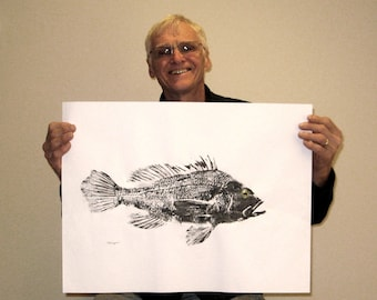 ORIGINAL Black Sea Bass Salt Water GYOTAKU Beach House fishing Art ( Fish Rubbing ) on white offset Paper