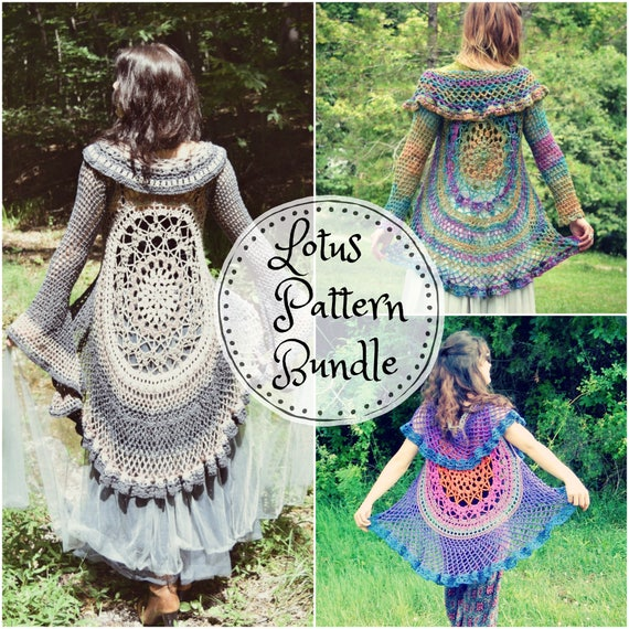 Crochet Pattern Bundle Lotus Duster Lotus Vest Bohemian Hippie