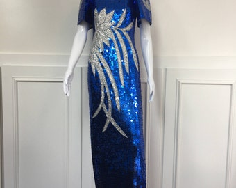1980s Floor Length Royal Blue and Silver Sequined and Beaded Filipiniana Gown (SKU 10350CL)