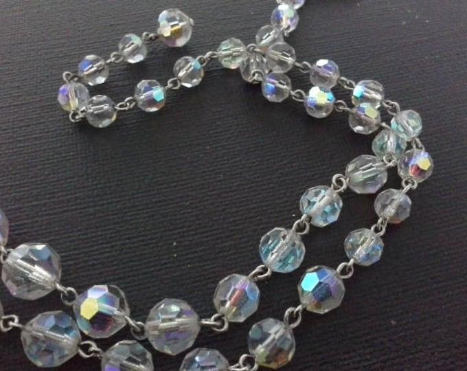 Vintage AB Aurora Borealis Swarovski Crystal Graduated Bead Choker Necklace Silver Wire Strung c 1950's