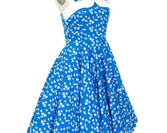 Summer Dress Daisy Dress Floral Dress Blue Dress Sun Dress Holiday Dress Party Dress Pin Up Dress Swing Dress Retro Dress Plus Size Dress