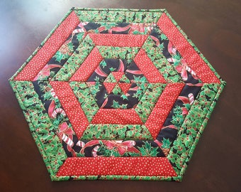 Christmas Candy Canes Hexagon Tabletopper