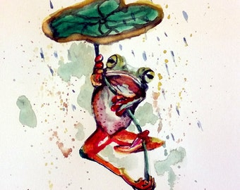 "Original Water Color Painting, Frog in Raining , 8""x10"", 1612055"