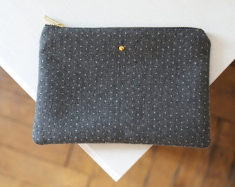 DUDE Pouch - Grey and white polka dots / Gift for her / Gift for him / Accessory / Wedding accessory