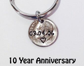 10 Year Anniversary, Ten Year Anniversary, Dime Keychain, Couples Gift, Anniversary Gift for Husband, Anniversary Gift for Wife, 2008 dime