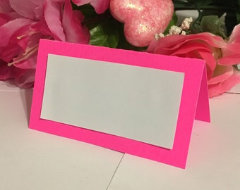 25 Flourescent Pink Customized Elegant Name Place Cards For Weddings, Birthdays, Baby Showers