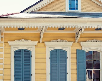 new orleans art, creole cottage, yellow home decor, blue wall art, french quarter art, travel photography, architecture art