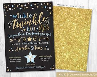 Twinkle Twinkle Little Star Baby Shower Invitation, Boy Twinkle Twinkle Shower Invite, Blue and Gold Star Invite, Boy Baby Shower • BS-T-01