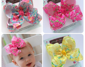 "Double Stacked Bows in Lilly Pulitzer inspired ribbon -- choose 5"" or 6"" bows -- AMAZING quality handmade in Tennessee"