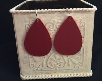 Cranberry red leather teardrop earrings small