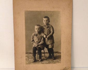 ON SALE Spencerville Ohio OH Early 1900's Antique Cabinet Photograph Two Cute Little Boys Brothers Vintage Old Photo