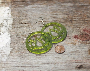 Yoga Lotus Earrings Lucite Pink, Green or White