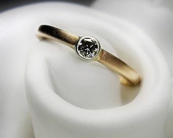 Recycled 14K Rose Gold Diamond Ring
